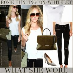 8c161cdf528e WHAT SHE WORE  Rosie Huntington-Whiteley in white sleeveless top with black  skinny jeans and green suede tote at LAX on July 25