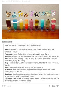 Pokemon Drinks that are based on every Eevee evolution. I will make these all someday. Mixed Drinks, Fun Drinks, Yummy Drinks, Alcoholic Drinks, Beverages, Colorful Cocktails, Chocolate Eclair Ice Cream, Chocolate Syrup, Cake Vodka