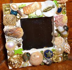 handmade shell mosaic mirror, shell mirror