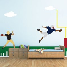 Football Wall Stencils – Football Mural – Football Theme Room #NewYearNewRoom