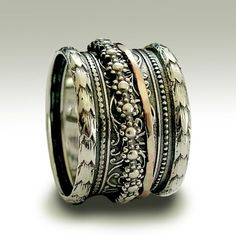 Sterling silver oxidized band with silver and gold spinners - It's okay to believe