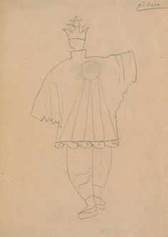 Pablo Picasso (1881-1973). Parade, Costume design for the Chinese Conjuror, 1917. Pencil. Howard D. Rothschild Collection. pf MS Thr 414.4 (113). Bequest, 1989.