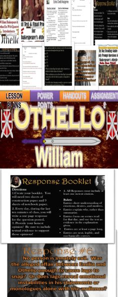 """Whew! Teaching and reading William Shakespeare's """"Othello"""" can be a challenge!   My Othello Unit is common core aligned and includes a total of 10 Power Points and 10 handouts.   I have also provided at total of 96 reading comprehension questions with an answer key, a day by day reading guide, daily journal questions, an introductory web quest, daily review questions, a unit test, and final project."""