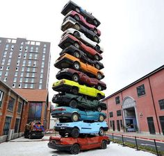 World Record of Biggest Car Tower (10meter high), Wuhan Culture Creation Industrial Park, Hubei, China.