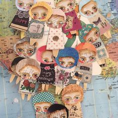 today I am playing with mini people ;) so much fun!!! #minipeople #dolls #paperdolls #happy #collage