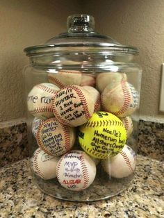 Baseball Moms are so creative! Display your kids homerun baseballs/softballs in a big jar. WAY better than them just being shoved in a drawer or sitting on a shelf! Softball Gifts, Softball Mom, Baseball Mom, Baseball Stuff, Softball Stuff, Baseball Scores, Baseball Tickets, Baseball Signs, Softball Pitching