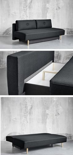 The String sofa bed is the one of the most practical sofas available, with reversible back cushions, a spacious storage box underneath, and the ability to convert into a comfortable bed when guests come to visit. Dining Bench, Cushions, Couch, Storage, Bed, Furniture, Home Decor, Homemade Home Decor, Sofa