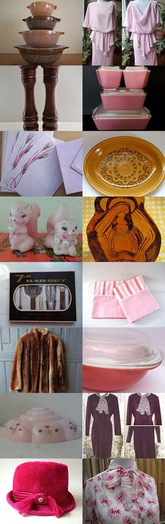 Vintage Pink And Brown With TeamKitsch. by livingavntglife on Etsy--Pinned with TreasuryPin.com