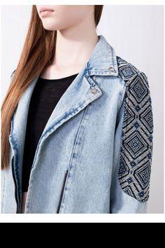 Sublime veste en jean ethnique X pull & bear