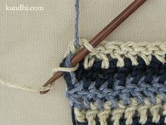 Technique ~~ Carrying yarn for single row stripes - so much easier than breaking off/weaving ends! #crochet