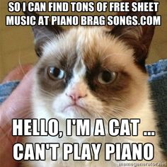 Download tons of free sheet music at PianoBragSongs.com. Unless you're a cat.