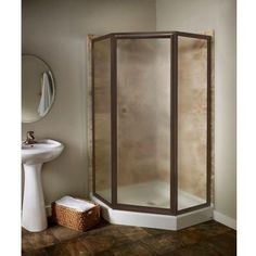 American Standard Prestige 18.4 in. x 24.2 in. x 18.4 in. x 68.5 H Neo-Angle Shower Door in Oil-Rubbed Bronze with Clear Glass-AMOPQF1.400.224 at The Home Depot