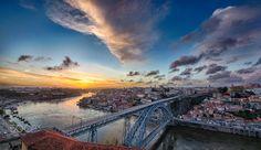Porto, Portugal - A sundown view over Porto, Portugal.
