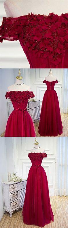 Off the Shoulder Prom Dresses Burgundy wedding dress Hand-Made Flower A-Line Evening Dress ,HS172 #moddress #promdresses #fashion #shopping #prom #dresses #eveningdresses