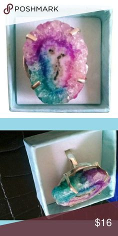 Brand new!! Stunning Geode Slice Ring BRAND NEW.? 925 silver and real huge geode slice multicolored crystal ring.? Size 6.5 fitted. Jewelry Rings