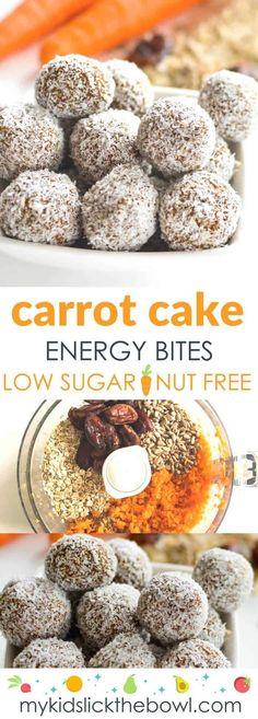 Carrot oat energy bites, healthy no bake nut free energy ball for kids