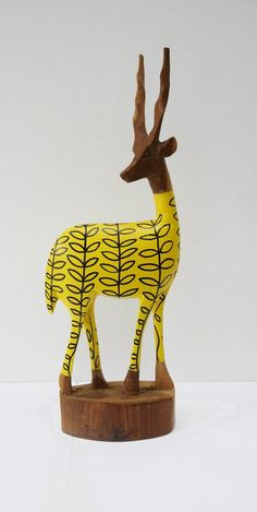 Vintage Retro Original Hand Carved African Hipster Gazelle - Sunshine Yellow Leaf
