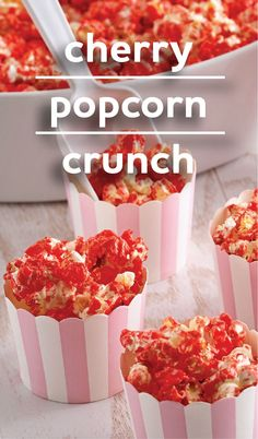 Cherry Popcorn Crunch: a Cherry-flavored glazed popcorn recipe that makes a sweet crunchy Valentine's Day treat. Package up for a cute kid's V-Day party idea.