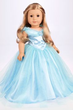 Cinderella - Blue gown with silver slippers - 18 inch American Girl Doll Clothes