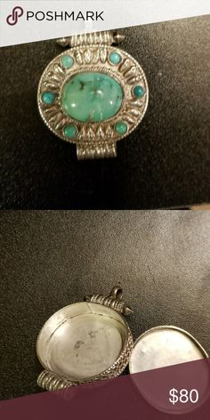 Silver , turquoise pendant Hand tooled 925 silver and tourqoise pendant,  with hidden compartment . Jewelry Brooches