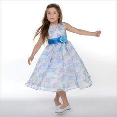 Ivy Blue Vintage Floral Organza Flower Girl Dress