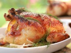 Roasted Chicken with Bourbon Pear Butter Glaze recipe from Damaris Phillips via Food Network