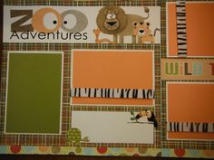 Zoo Adventures Boys Girls Premade 12x12 Scrapbook Pages for Family. $14.99, via Etsy.