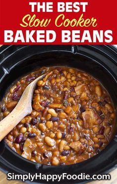 The Best Slow Cooker Baked Beans are rich, sweet, savory, and very delicious! This is my family baked beans recipe. My crock pot baked beans are a favorite potluck recipe! Baked Beans Crock Pot, Best Baked Beans, Slow Cooker Baked Beans, Baked Bean Recipes, Best Slow Cooker, Crock Pot Slow Cooker, Crock Pot Cooking, Slow Cooker Recipes, Crockpot Recipes