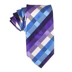 Royal Violet Checkered Necktie   Designer Thick Neckties Tie   Mens Ties & Accessories Australia   www.otaa.com.au   OTAA