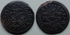Cork, city issue penny 1659 Obv: (rosette)A.CORK.PENNY(rosette)1659 , around beaded inner circle, C C (City of Cork), ormonde knot below, at the ends of which two flowers appear above C C . Rev: (rosette).THE.ARMES.OF.CORK. , around a ship in full sail between two castles. Ex Josland. M. Dickinson 201 Cork City, Full Sail, Inner Circle, Rosettes, Castles, Knot, Irish, Ship, Flowers