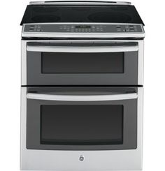 GE 30 Inch Slide-in Double Oven Electric Range with 5 Smoothtop Elements, cu. True European Convection Double Oven, Inch Power Boil, Expandable Bridge Zone, Self-Clean Roller Rack and Self-Clean Mode: Slate Ottawa, Calgary, Double Oven Electric Range, Double Ovens, Electric Stove, Dual Oven, Electric Cooker, Vancouver, Ranger