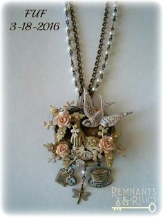 """FUF for 3-18-2016 Finished my """"Afternoon Tea"""" necklace.   B'Sue brass stampings, blank and charms on a vintage brass drawer pull. I colored, distressed, whitewashed and then sealed everything. B'Sue brass ox rolo chain and clasp. Chippy glass pearls, Swarovski crystals, gears, resin roses and watch face from my stash."""