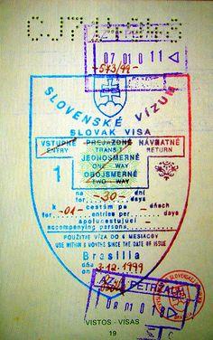 Slovakia: visa and stamps on passport