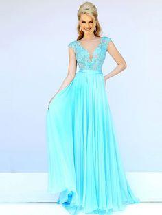 A-Line/Princess Scoop Sleeveless Applique Chiffon Floor-Length Dresses