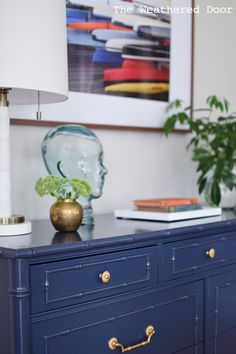 Before and After Furniture Makeover: Thomasville Allegro Navy Faux Bamboo Dresser | theweathereddoor.com