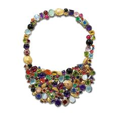 Stoned necklace A bib necklace encrusted with Amethyst, Tourmaline, Fire Opal, Sapphire, Emerald, Ruby, Moonstone, Aquamarine, yellow Beryl, Citrine, Peridot, Onyx, Rose Quartz and plique-à-jour enamel in 18ct yellow gold  Solange Azagury-Partridge