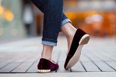 Bejeweled velvet smoking slippers