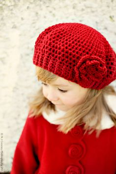 Child's Crochet Slouchy Hat with Flower
