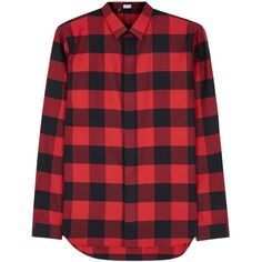 Dior Homme Red checked flannel shirt (28.480 RUB) ❤ liked on Polyvore featuring men's fashion, men's clothing, men's shirts, men's casual shirts, mens flannel shirts, mens checkered shirts, men's curved hem t shirt, mens checked shirts and mens red checkered shirt
