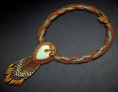 Turquoise Bead Embroidery Necklace  Bead Embroidered Teal Blue Gold Bronze Amazonite. $165.00, via Etsy.