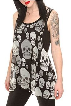 Royal Bones Black Chiffon Skull Tank Top - 791935