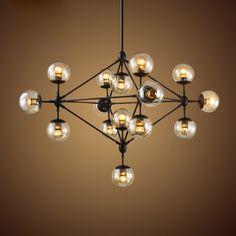 Retro Industrial Loft Multiple Tea Glass Globe Black Iron Pendant Light - Pendant Lights - Ceiling Lights - Lighting