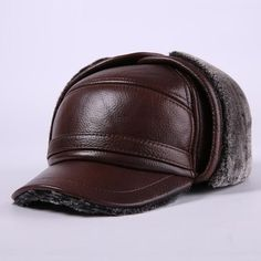 fe3926bc77f Men Earmuffs Genuine Leather Hat Male Faux Fur Baseball Caps