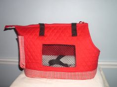 Large Red Quilted dog carrier by PoochandFelinePalace on Etsy