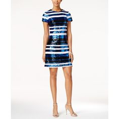 Guess Striped Sequined Sheath Dress ($82) ❤ liked on Polyvore featuring dresses, cobalt, night out dresses, white going out dresses, day party dresses, white striped dress and sequin dresses