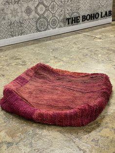 purple square floor pillow Moroccan Leather Pouf, Moroccan Pouf, Moroccan Decor, Square Floor Pillows, Floor Cushions, Bohemian Interior Design, Bohemian Decor, Boho Trends, Vintage Textiles