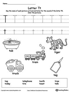 **FREE**Words Starting With Letter T. Teach the beginning letter sound by saying the name of each picture and then allow your child to trace the uppercase and lowercase letter T in this printable activity worksheet. Letter T Activities, Printable Alphabet Worksheets, Letter Worksheets For Preschool, Phonics Worksheets, Preschool Letters, Tracing Worksheets, Learning Letters, Kindergarten Worksheets, Preschool Learning