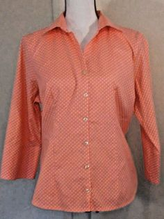 Lands' End No Iron Pinpoint Oxford Cotton Blend 16 Orange Button Spring Picnic | Clothing, Shoes & Accessories, Women's Clothing, Tops & Blouses | eBay!