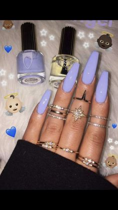 There are three kinds of fake nails which all come from the family of plastics. Acrylic nails are a liquid and powder mix. They are mixed in front of you and then they are brushed onto your nails and shaped. These nails are air dried. Aycrlic Nails, Fun Nails, Hair And Nails, Coffin Nails, Nails Yellow, Purple Nails, Periwinkle Nails, Purple Makeup, Bright Nails