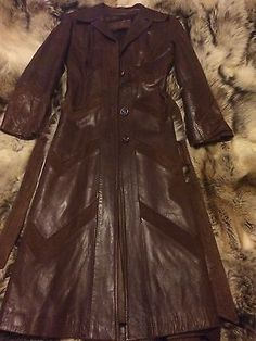 Skin-Gear-Vintage-Leather-Trench-Coat-W-Suede-Retro-Jacket-Brown-Coat-W-Belt